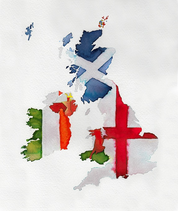 Watercolor flag map of United Kingdom and Ireland