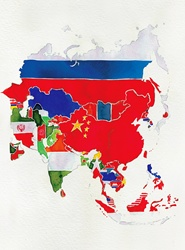 Watercolor flag map of Asia