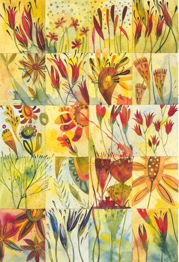 Watercolor painting of plant details in grid pattern