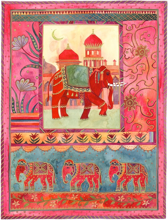 Elephants, architecture and floral pattern