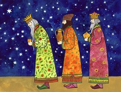 Three kings carrying gifts, stars in sky