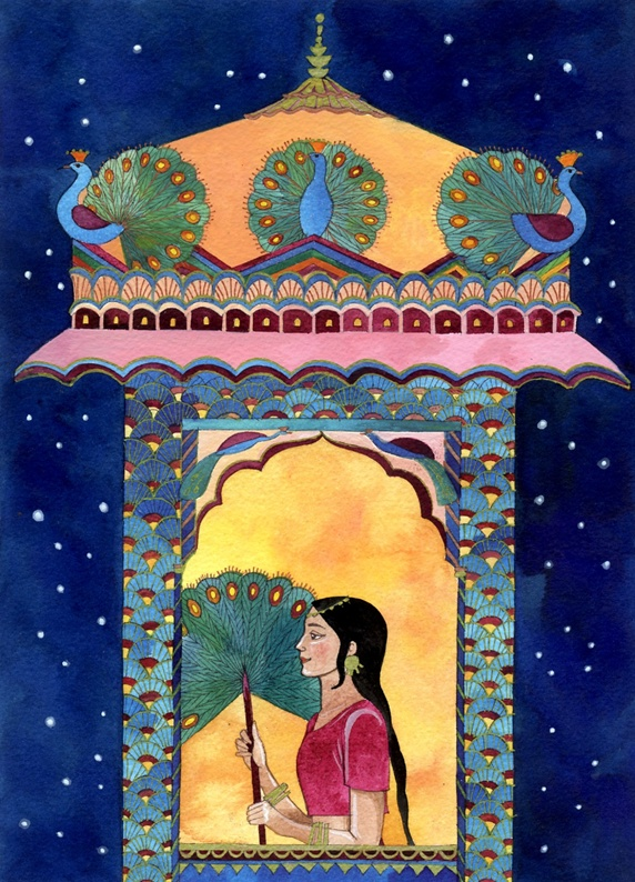 Indian woman in window, peacocks on roof