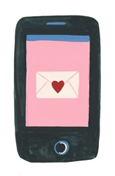 Smartphone with envelope with heart icon