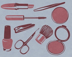 Make up utensils on blue