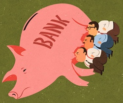 Greedy businessmen feeding off piggy bank