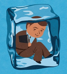 Businessman frozen inside of ice cube