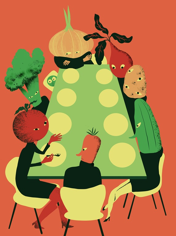 Anthropomorphic vegetables sitting at table