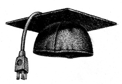 Mortarboard with plug on white