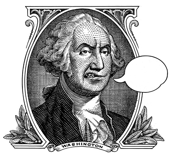 Portrait of George Washington with speech bubble