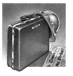 Briefcase, hard helmet and newspaper