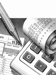 Close up of finance calculation with calculator, receipt and form