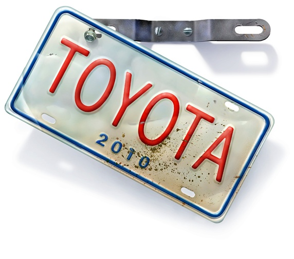 License plate with sign 'toyota'