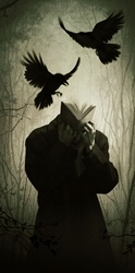 Man with head made of book and crows attacking him