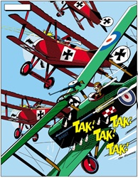 Biplanes against blue sky fighting