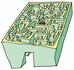 Man in the middle of maze