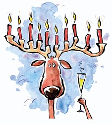 Reindeer holding wineglass and candles