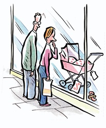 Woman and man looking at baby carriage in shop