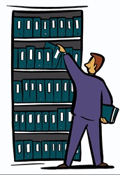 Man reaching for folder from shelf