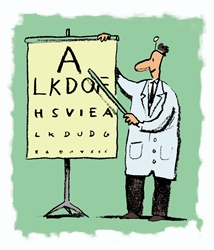 Doctor with eye chart