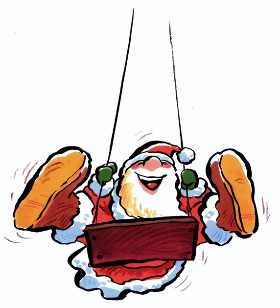 Santa Claus swinging on white background