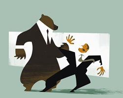 Large bear in suit bullying smaller businessman