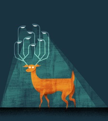 Deer with lamps on antlers