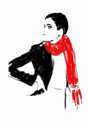Beautiful woman wearing red scarf