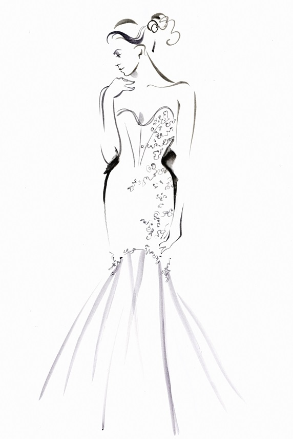 Fashion illustration of model wearing evening gown