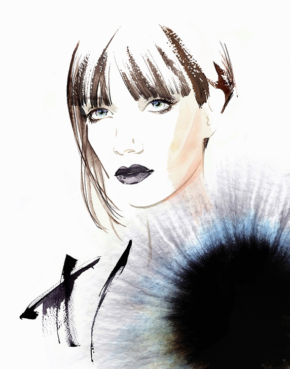 Fashion illustration of model with asymmetric haircut and top