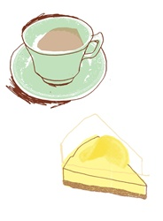 Lemon pie and coffee cup
