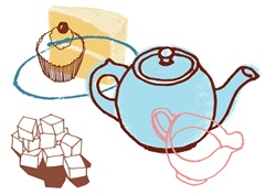 Kettle, creamer and cupcake