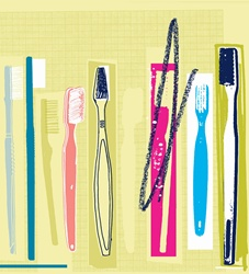 Row of different toothbrushes