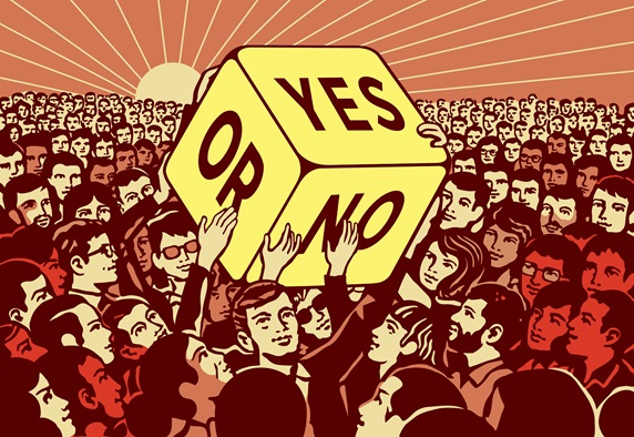 Crowd of people passing large dice with yes or no choice