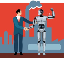 Businessman shaking hands with robot flexing muscles