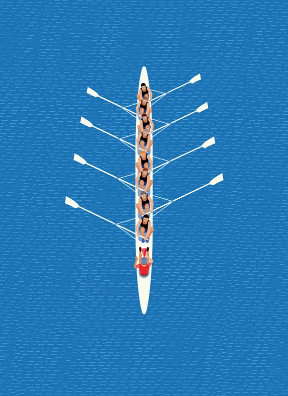 Overhead view of male rowing eight team