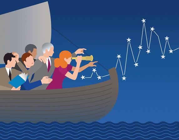 Business people lost at sea finding the way forward