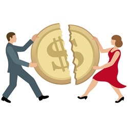 Man and woman sharing dollar coin