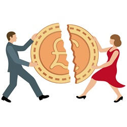 Man and woman sharing pound coin