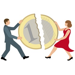 Man and woman sharing one euro coin