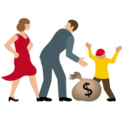 Man, woman and boy with sack of dollars