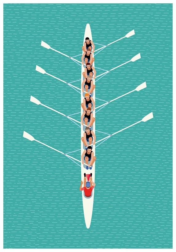 Aerial view of rowing team