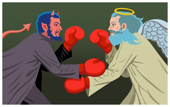 Angel and devil boxing