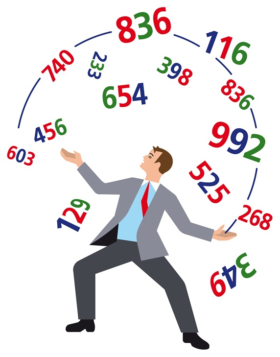 Businessman juggling with colorful numbers