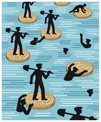 Silhouettes of workers with shovels floating on water on fifty Euro cents coins