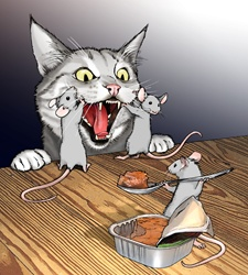 Mice feeding cat