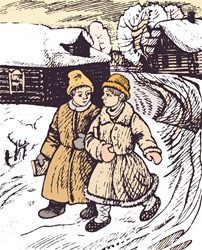 Two boys walking along snowy village road