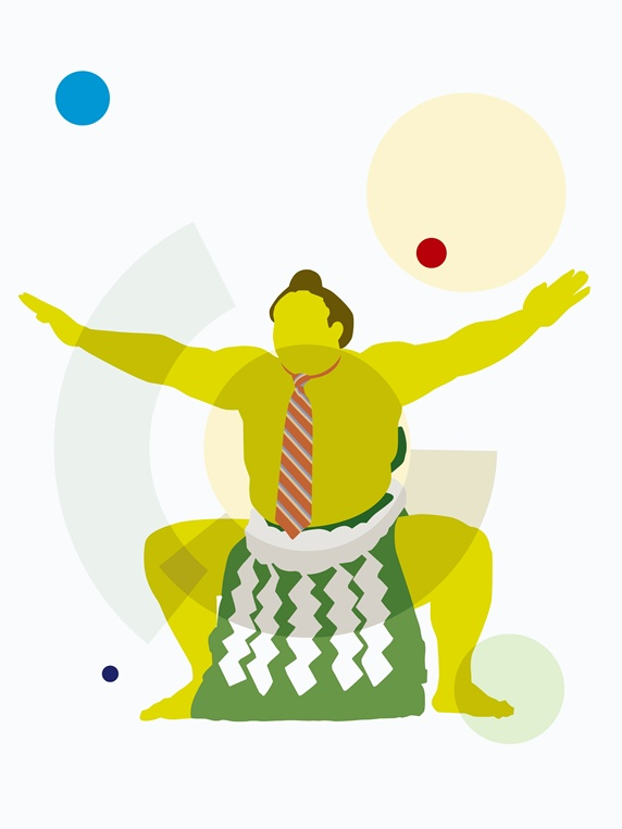 Businessman sumo wrestler
