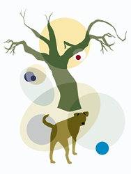 Dog by bare tree