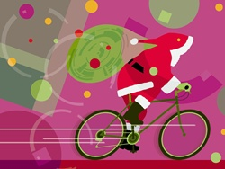 Sata Claus riding a cycle