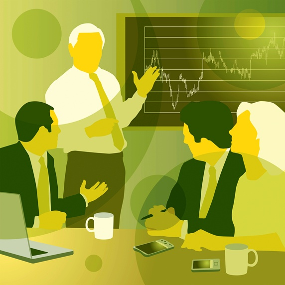 Business people discussing graph in meeting